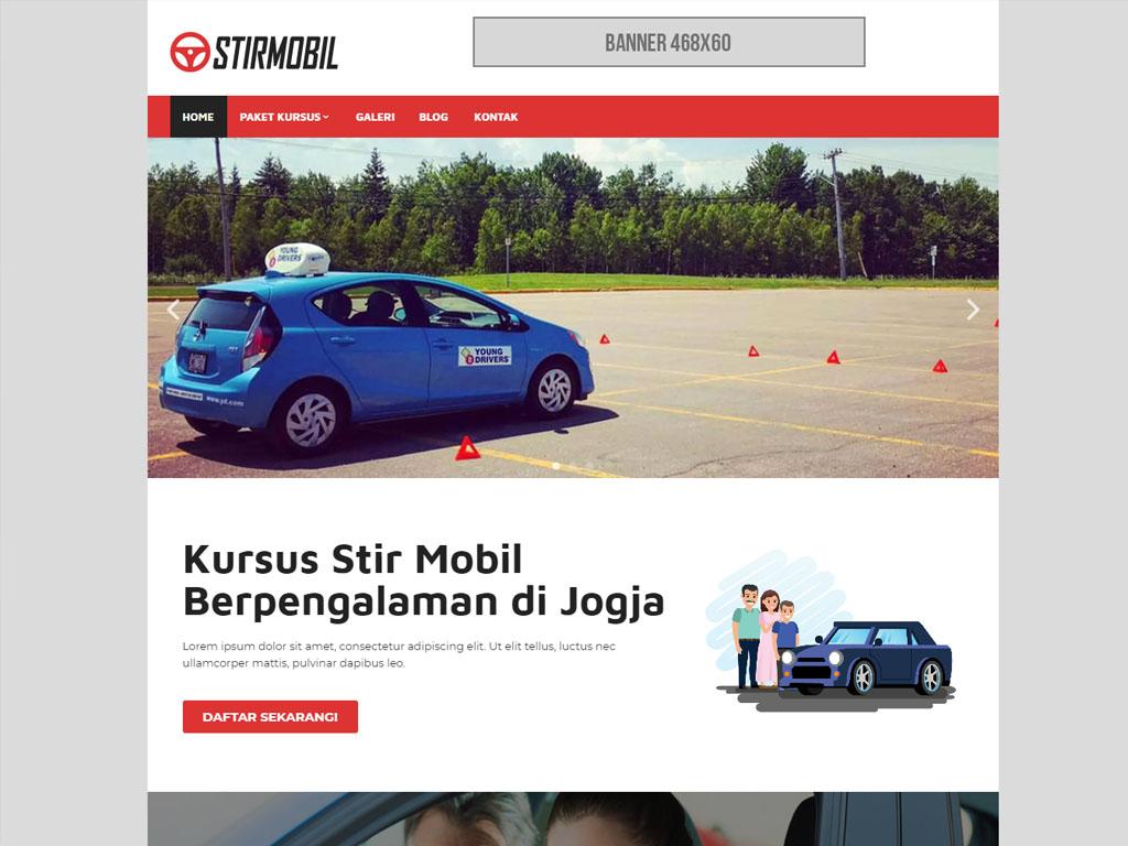 halaman depan website kursus stir mobil